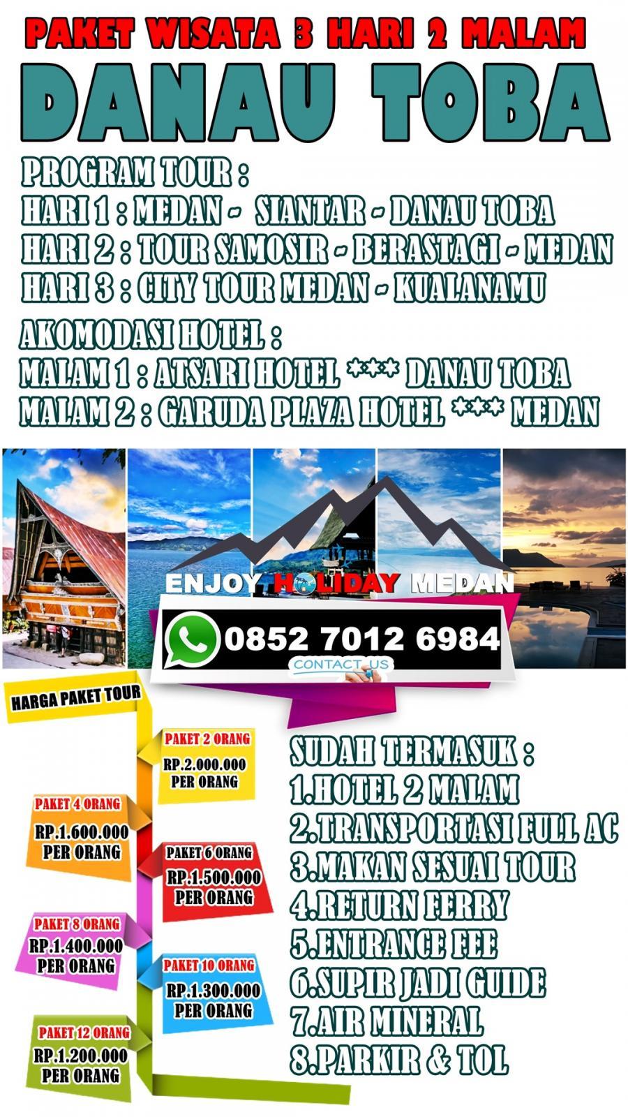 3D2N Lake Toba Medan Tour Package